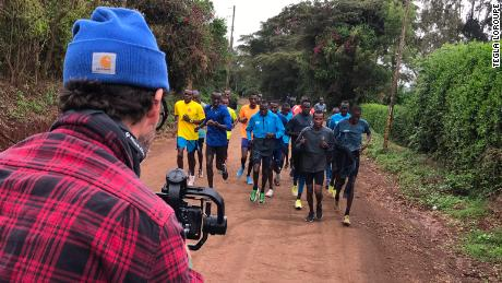 Members of the Athlete Refugee Team are filmed during a training run in Kenya.