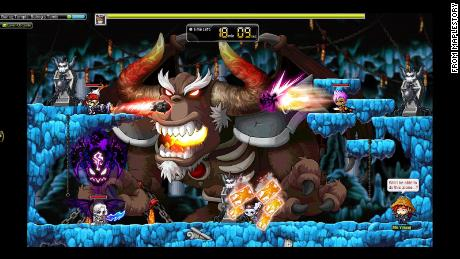 A photo of MapleStory, a popular massive online role-playing game with a 17-year run.