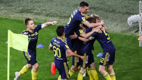 FC Rostov celebrate taking the lead in the first minute of the game.