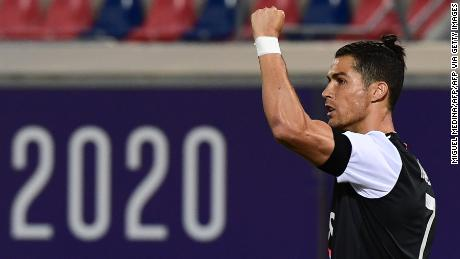 Cristiano Ronaldo celebrates after scoring against Bologna.