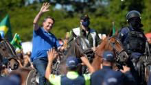 Brazilian President Jair Bolsonaro horse-riding duringa demonstrationin favor of his governmentin front of Planalto Palace on May 31, 2020