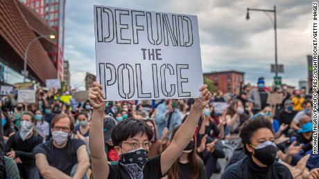 People protesting the death of George Floyd and police brutality on June 2 in New York City.