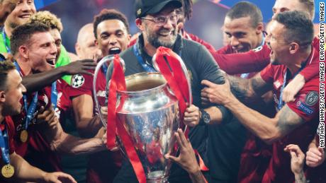 Klopp celebrates with the Champions League trophy at Estadio Wanda Metropolitano on June 1, 2019.