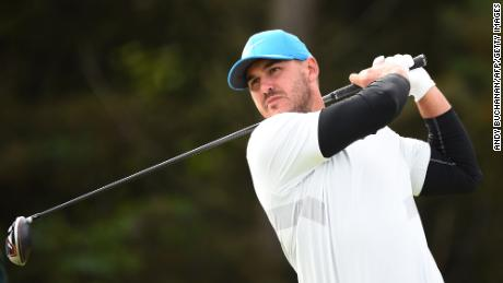Koepka tees off at the fifth hole during the second round of the British Open Championship at Royal Portrush on July 19, 2019.