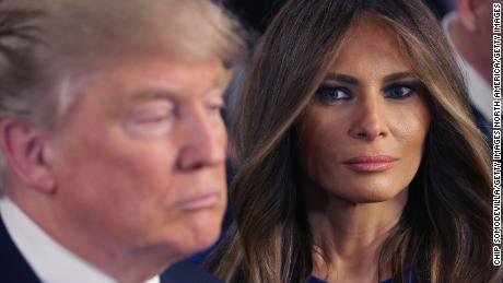 In this March 3, 2016, file photo, Republican presidential candidate Donald Trump and his wife, Melania, greet reporters in the spin room following a debate sponsored by Fox News at the Fox Theatre in Detroit.