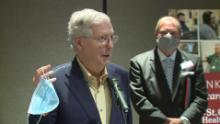 """Senate Majority Leader Mitch McConnell wants Americans to wear masks in public until there is a prophylaxis for Covid-19. """"Until we find a vaccine, these are really important,"""" McConnell said Friday while holding up a blue mask, according to CNN affiliate WKYT. """"This is not as complicated as a ventilator, and this is a way to indicate that you want to protect others."""""""