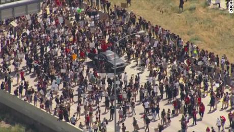 Protesters shutdown Highway 225 in Aurora, Colorado, on June 27, 2020.