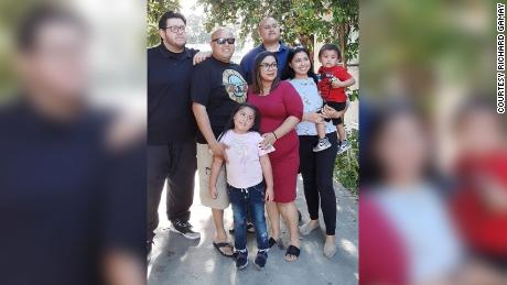 Richard Garay, third from right, with members of his family.