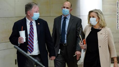 "Representatives Doug Lamborn and Liz Cheney, both Republicans, wore masks to a classified House Armed Services Committee briefing on May 28. Cheney, daughter of former Vice President Dick Cheney, has also posted a photo of her father sporting a mask with the quote, ""Real men wear masks."""