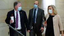 """Representatives Doug Lamborn and Liz Cheney, both Republicans, wore masks to a classified House Armed Services Committee briefing on May 28. Cheney, daughter of former Vice President Dick Cheney, has also posted a photo of her father sporting a mask with the quote, """"Real men wear masks."""""""