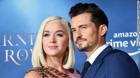 "HOLLYWOOD, CALIFORNIA - AUGUST 21: Katy Perry and Orlando Bloom arrive at the LA Premiere Of Amazon's ""Carnival Row""  at TCL Chinese Theatre on August 21, 2019 in Hollywood, California. (Photo by Amy Sussman/FilmMagic,)"