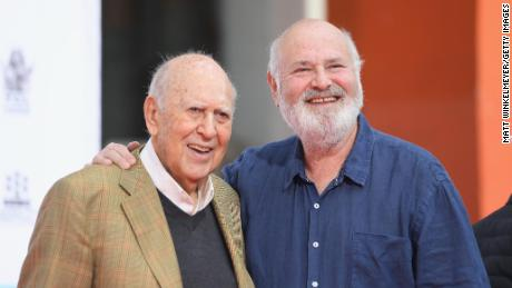 Carl Reiner is pictured with his son Rob Reiner in 2017.