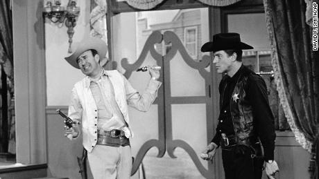 "Carl Reiner, left, with star Dick Van Dyke appear in a scene from ""The Dick Van Dyke Show."""