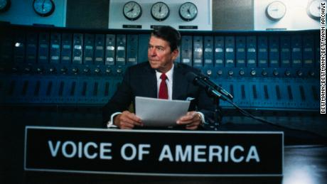 President Reagan broadcast on the American propagandist radio Voice of America, behind the Iron Curtain.