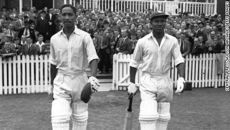 Worrall and Weekes head out to bat at Trent Bridge in Nottingham, England.