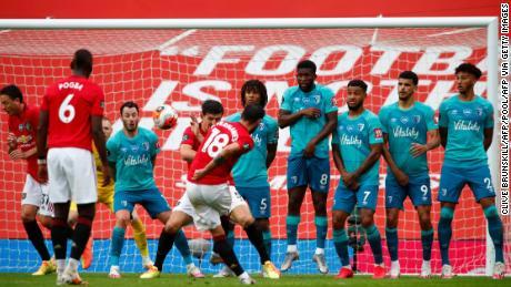 Bruno Fernandes scores with a brilliant free kick into the bottom corner.