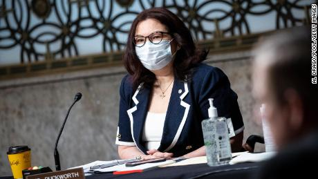Senator Tammy Duckworth, a Democrat from Illinois, wears a protective mask during a Senate Armed Services Committee confirmation hearing for Kenneth Braithwaite, U.S. President Donald Trump's nominee for navy secretary,May 7, 2020 in Washington, D.C.