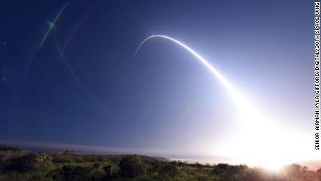 An unarmed Minuteman III intercontinental ballistic missile launches during an operational test at 11:01 p.m. Thursday, Feb. 25, 2016. Col. J. Christopher Moss, 30th Space Wing commander, was the launch decision authority.