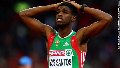 Ricardo Dos Santos of Portugal reacts after competing in the Men's 400 metres semi-final during day two of the 22nd European Athletics Championships at Stadium Letzigrund on August 13, 2014 in Zurich, Switzerland.