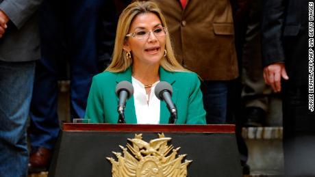 Bolivian interim President Jeanine Anez .