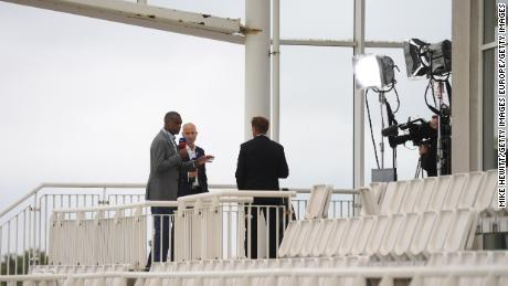 Sky Sports commentators Michael Holding, Nasser Hussain and Ian Ward broadcast during day one of the first Test.