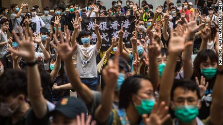Protesters rally against the National Security Law in Hong Kong on July 1.