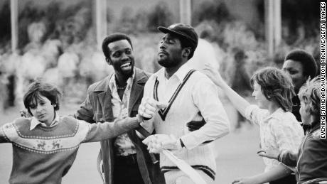 Viv Richards is greeted by fans after the first Test of West Indies' tour of England at Trent Bridge, Nottingham, UK, 3rd June 1976.