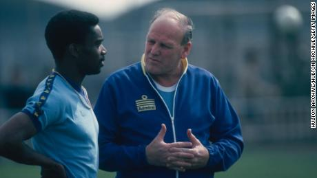 England manager Ron Greenwood speaks to Laurie Cunningham during training.