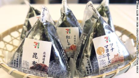 'Onigiri' or rice balls sold by convenience store chain Seven-Eleven Japan Co.