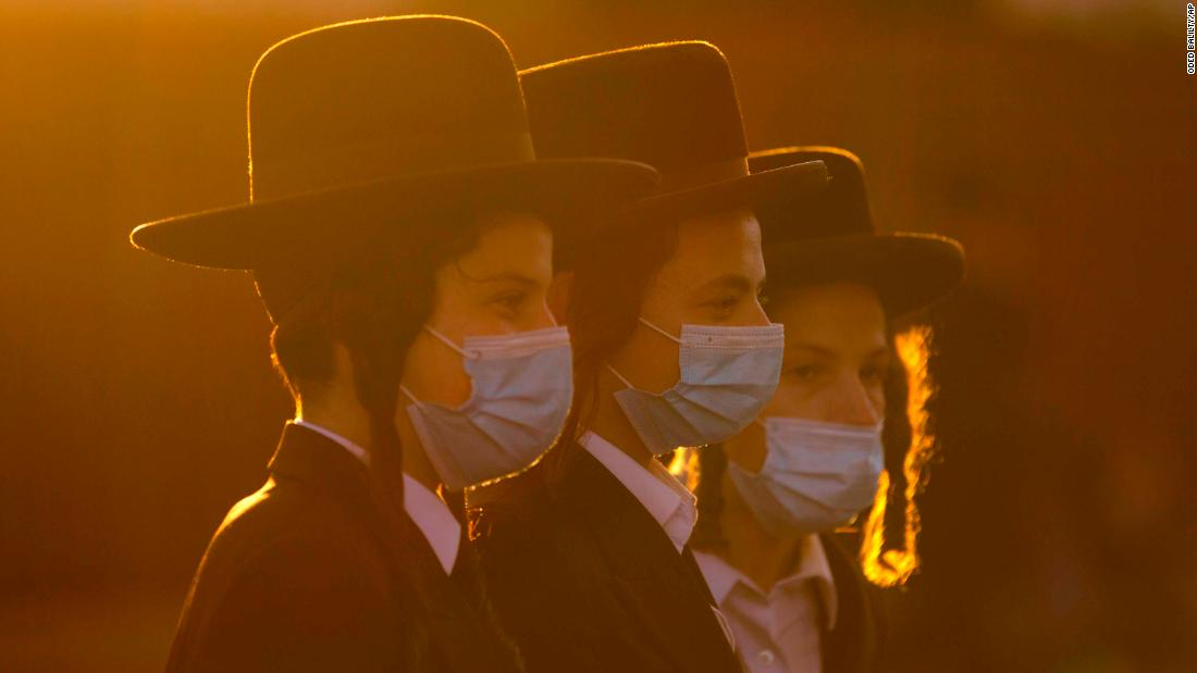 Ultra-Orthodox Jews gather for a July 13 protest over lockdown measures in Jerusalem.