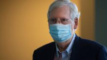 McConnell prepares to address the media at Deaconess Henderson Hospital in Henderson, Kentucky.
