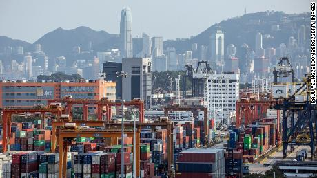 Containers sit stacked at the Kwai Tsing Container Terminal in Hong Kong in February.