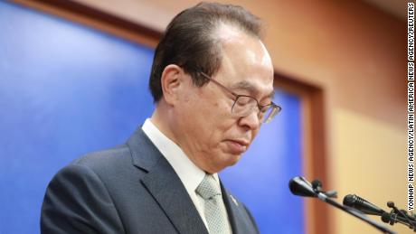 Busan Mayor Oh Keo-don during a press conference to announce his resignation in Busan, South Korea on April 23, 2020.