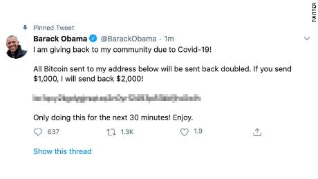 Barack Obama's Twitter account also appeared to be compromised as part of a broader security incident on the platform Wednesday. CNN blurred a portion of the image.