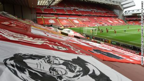 A general view of the The Kop during Liverpool's Premier League match against Aston Villa at Anfield.