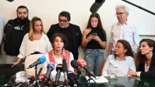 Doria Chouviat, center, the widow of Cedric Chouviat, speaks during a press conference in Paris, on June 23, 2020.