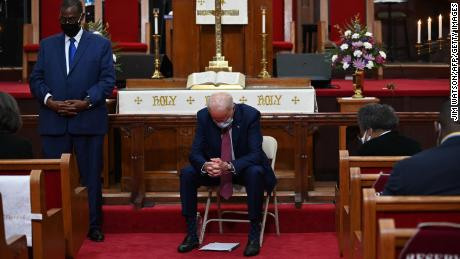 Biden prays as he meets religious leaders at Bethel AME Church in Wilmington, Delaware, on June 1, 2020.