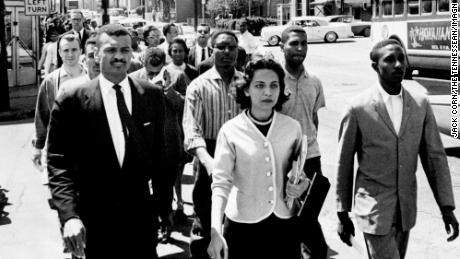 Black leaders, including CT Vivian, left first row, march down Nashville's Jefferson Street at the head of a group of 3,000 demonstrators April 19, 1960, and head toward City Hall on the day of the Z. Alexander Looby bombing.