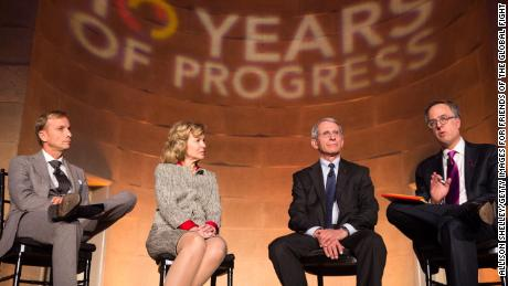Birx, then the Ambassador at Large and Coordinator of US Government Activities to Combat HIV/AIDS, alongside Dr. Anthony Fauci, speaking onstage at the 10th anniversary leadership gala of the Friends Of The Global Fight Against AIDS, Tuberculosis and Malaria, December 2, 2014 in Washington, DC.