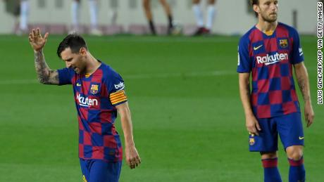 Lionel Messi's frustrated 'celebration' after drawing Barcelona level.