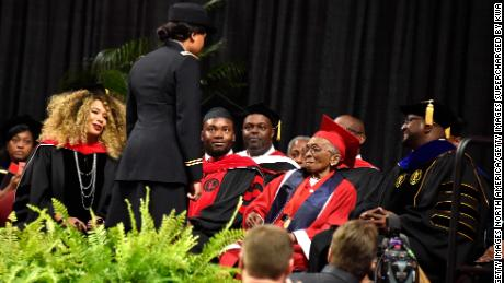 On May 10, 2019, former WAC Elizabeth Bernice Barker-Johnson was honored for her service in the Six Triple Eight and presented with her college degree at Winston-Salem State University. She missed her original commencement in 1949.