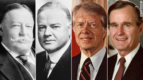 Presidents William Howard Taft (from left), Herbert Hoover, Jimmy Carter and George H.W. Bush lost reelection by large margins.