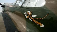 """A World War II-era P-40 Warhawk, painted in the colors of the American Volunteer Group the """"Flying Tigers"""" is on display in Oshkosh, Wisconsin, in 2007."""