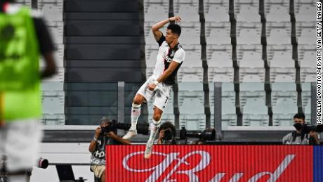 Ronaldo celebrates in trademark fashion after putting Juventus ahead against Lazio.
