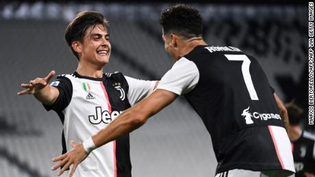 Ronaldo and Dybala celebrate during Juventus' win against Lazio.