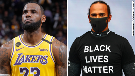 Johnson singled out LeBron James, left, and Lewis Hamilton for their work bringing attention to inequality and the Black Lives Matter movement.