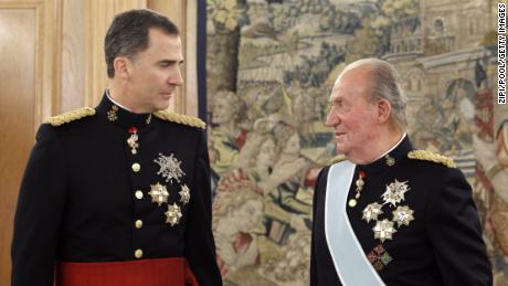 Felipe and Juan Carlos attend a ceremony at Zarzuela Palace prior to Felipe's official coronation ceremony on June 19, 2014. Juan Carlos abdicated on June 2 after a 39-year reign.