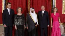 From left to right: then-Crown Prince Felipe, Spain's then-Queen Sofia, Saudi Arabia's then-King Abdullah, then-King Juan Carlos and then-Princess Letizia pose before a dinner in Madrid in July 2008.