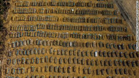 An aerial shot shows a cemetery in the city of Manaus, Brazil, on July 20, 2020.