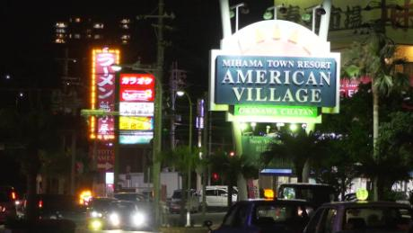 The American Village in Chatan, Okinawa, is a popular hangout for US troops on the Japanese island.